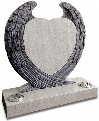 Imperial White granite heart memorial, enfolded in carved wings.