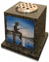 Blue Pearl granite vase memorial showing a favourite pastime.