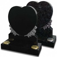 Heart shaped memorial with carved roses. Shown in Polished Black granite and in Volga Blue granite with a striking antique finish to the roses.