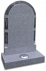 Polished Light Grey Granite headstone with Calla lilly border design