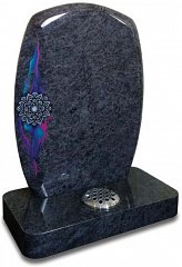 Bahama blue pebble shaped memorial with colourful Lotus flower artwork