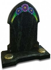 Karala Green Gothic style memorial with colourful Gerbera daisy artwork