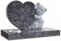 Bahama Blue granite heart shaped memorial with carved teddy bear.