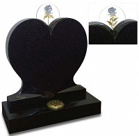 This beautifully shaped heart memorial cradles one of our exclusive carved glass discs, reverse gilded in both palladium and gold leaf. Shown in polished Galaxy Black granite. Also available without glass panel.