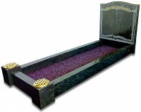 Kerala Green granite kerb set memorial with an etched book design.