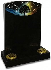 Sparkling crystal stars and silhouetted artwork on polished black granite