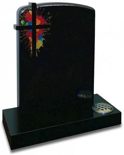 Subtle shaping and a vibrant splash of colour add an individuality to this polished Black granite memorial.
