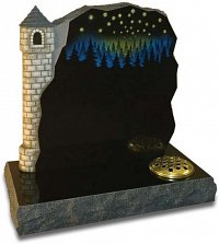 Carved and painted castle memorial with Swarovski crystals