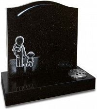 Black Galaxy granite with a stargazing etching.