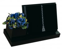 A Black granite book memorial with a side vase.