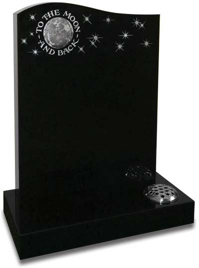 Black granite memorial with sandblasted artwork and Swarovski crystals